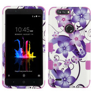 Military Grade Certified TUFF Image Hybrid Armor Case for ZTE Blade Z Max - Purple Hibiscus Flower Romance