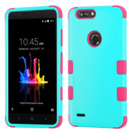 Military Grade Certified TUFF Hybrid Armor Case for ZTE Blade Z Max - Teal Green Hot Pink