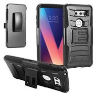 Advanced Armor Hybrid Kickstand Case with Holster for LG V30 / V30+ - Black