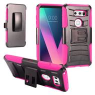 Advanced Armor Hybrid Kickstand Case with Holster for LG V30 / V30+ - Hot Pink