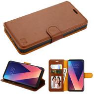 *SALE* Book-Style Leather Folio Case for LG V30 / V30+ - Brown
