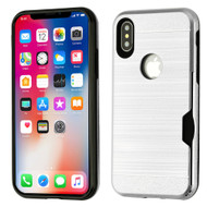ID Card Slot Hybrid Case for iPhone XS / X - Silver