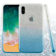 Full Glitter Hybrid Protective Case for iPhone XS / X - Gradient Blue