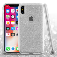 Full Glitter Hybrid Protective Case for iPhone XS / X - Silver