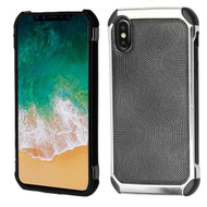 *Sale* Chrome Tough Anti-Shock Hybrid Case with Leather Backing for iPhone XS / X - Black