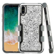 TUFF Vivid Mini Crystals Hybrid Armor Case for iPhone XS / X - Silver