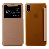 Book-Style Hybrid Flip Case with Window Display for iPhone XS / X - Gold