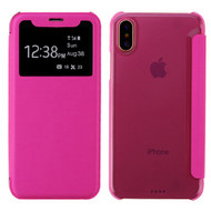 Book-Style Hybrid Flip Case with Window Display for iPhone XS / X - Hot Pink