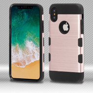 Military Grade Certified TUFF Trooper Dual Layer Hybrid Armor Case for iPhone XS / X - Rose Gold