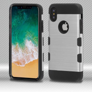 Military Grade Certified TUFF Trooper Dual Layer Hybrid Armor Case for iPhone XS / X - Silver