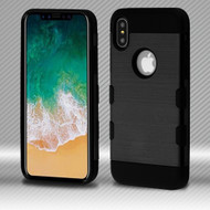 Military Grade Certified TUFF Trooper Dual Layer Hybrid Armor Case for iPhone XS / X - Black