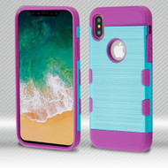 *Sale* Military Grade Certified TUFF Trooper Dual Layer Hybrid Armor Case for iPhone XS / X - Baby Blue Purple