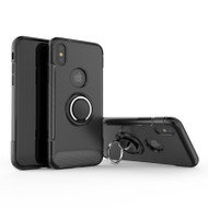 Carbon Edge Sports Hybrid Armor Case with Ring Holder for iPhone XS / X - Black