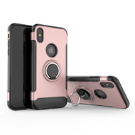 Carbon Edge Sports Hybrid Armor Case with Ring Holder for iPhone XS / X - Rose Gold