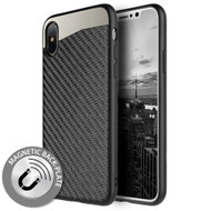 Carbon Metallic Luxury Fusion Case with Magnetic Back Plate for iPhone XS / X - Black