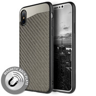 Carbon Metallic Luxury Fusion Case with Magnetic Back Plate for iPhone XS / X - Grey