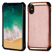 Electroplated Tough Anti-Shock Hybrid Case with Leather Backing for iPhone XS / X - Rose Gold
