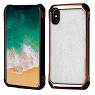 Electroplated Tough Anti-Shock Hybrid Case with Leather Backing for iPhone XS / X - White