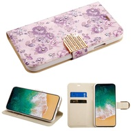 Luxury Bling Portfolio Leather Wallet Case for iPhone XS / X - Purple Flowers