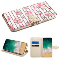 Luxury Bling Portfolio Leather Wallet Case for iPhone X - Pink Fresh Roses