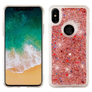 Quicksand Glitter Transparent Case for iPhone XS / X - Rose Gold