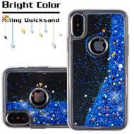 Quicksand Glitter Transparent Case for iPhone XS / X - Blue