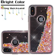 Quicksand Glitter Transparent Case for iPhone XS / X - Pink