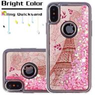 Quicksand Glitter Transparent Case for iPhone XS / X - Eiffel Tower