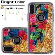 Quicksand Glitter Transparent Case for iPhone XS / X - Electric Hibiscus