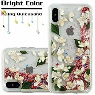 Quicksand Glitter Transparent Case for iPhone XS / X - Sally Flower