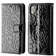 Embossed Rose Design Patent Leather Wallet Case for iPhone XS / X - Black
