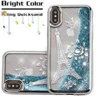 Electroplating Quicksand Glitter Transparent Case for iPhone XS / X - Eiffel Tower Silver