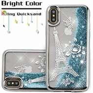 *Sale* Electroplating Quicksand Glitter Transparent Case for iPhone XS / X - Eiffel Tower Silver
