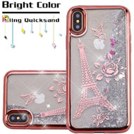 Electroplating Quicksand Glitter Transparent Case for iPhone XS / X - Eiffel Tower Rose Gold
