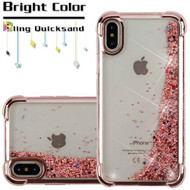 Confetti Quicksand Glitter Electroplating Transparent Case for iPhone XS / X - Rose Gold