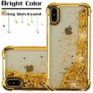 Confetti Quicksand Glitter Electroplating Transparent Case for iPhone XS / X - Gold