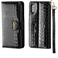 Crocodile Embossed Leather Wallet Case for iPhone X - Black