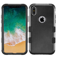 Military Grade Certified TUFF Image Hybrid Armor Case for iPhone XS / X - Carbon Fiber