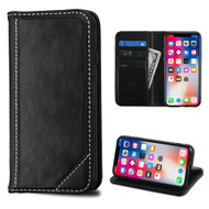 Mybat Genuine Leather Wallet Case for iPhone X - Black