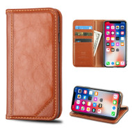 Mybat Genuine Leather Wallet Case for iPhone XS / X - Brown