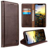 Luxury Leather Wallet with Removable Magnetic Case for iPhone X - Brown