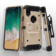3-IN-1 Kinetic Hybrid Armor Case with Holster and Tempered Glass Screen Protector for iPhone XS / X - Gold