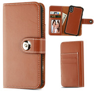 2-IN-1 Premium Leather Wallet with Removable Magnetic Case for iPhone X - Brown