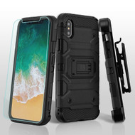Military Grade Storm Tank Hybrid Case with Holster and Tempered Glass Screen Protector for iPhone XS / X - Black