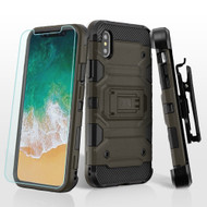 Military Grade Storm Tank Hybrid Case + Holster + Tempered Glass Screen Protector for iPhone XS / X - Dark Grey