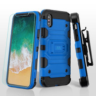 *SALE* Military Grade Storm Tank Hybrid Case + Holster + Tempered Glass Screen Protector for iPhone XS / X - Blue