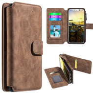 Luxury Coach Series Leather Wallet with Removable Magnetic Case for iPhone X - Brown