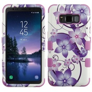 Military Grade Certified TUFF Image Hybrid Armor Case for Samsung Galaxy S8 Active - Purple Hibiscus Flower Romance