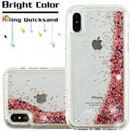 Diamond Quicksand Glitter Transparent Case for iPhone XS / X - Rose Gold