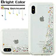 *SALE* Diamond Quicksand Glitter Transparent Case for iPhone XS / X - Silver